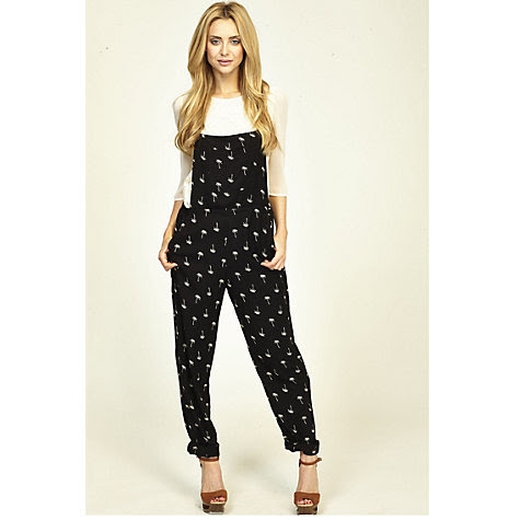 Buy Sugarhill Boutique Palm Tree Dungarees, Black/Off White Online at johnlewis.com