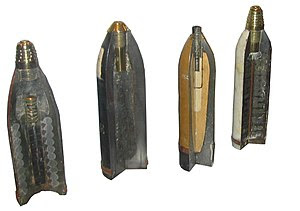 Shells of WWI. From left to right: *90 mm frag...