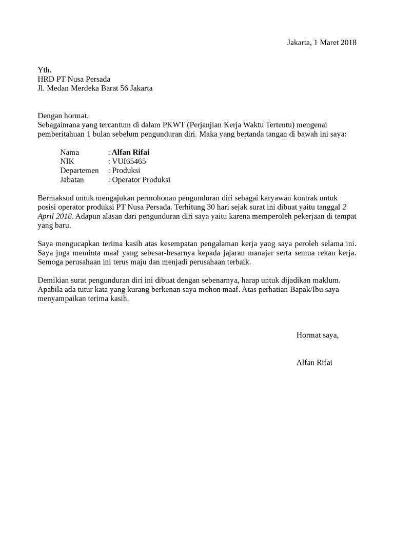 Contoh Surat Pengunduran Diri Karyawan Yang Baik Dan Resmi