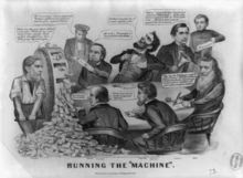 """""""Running the 'Machine'"""": An 1864 political cartoon featuring Lincoln; William Fessenden, Edwin Stanton, William Seward and Gideon Welles take a swing at the Lincoln administration"""