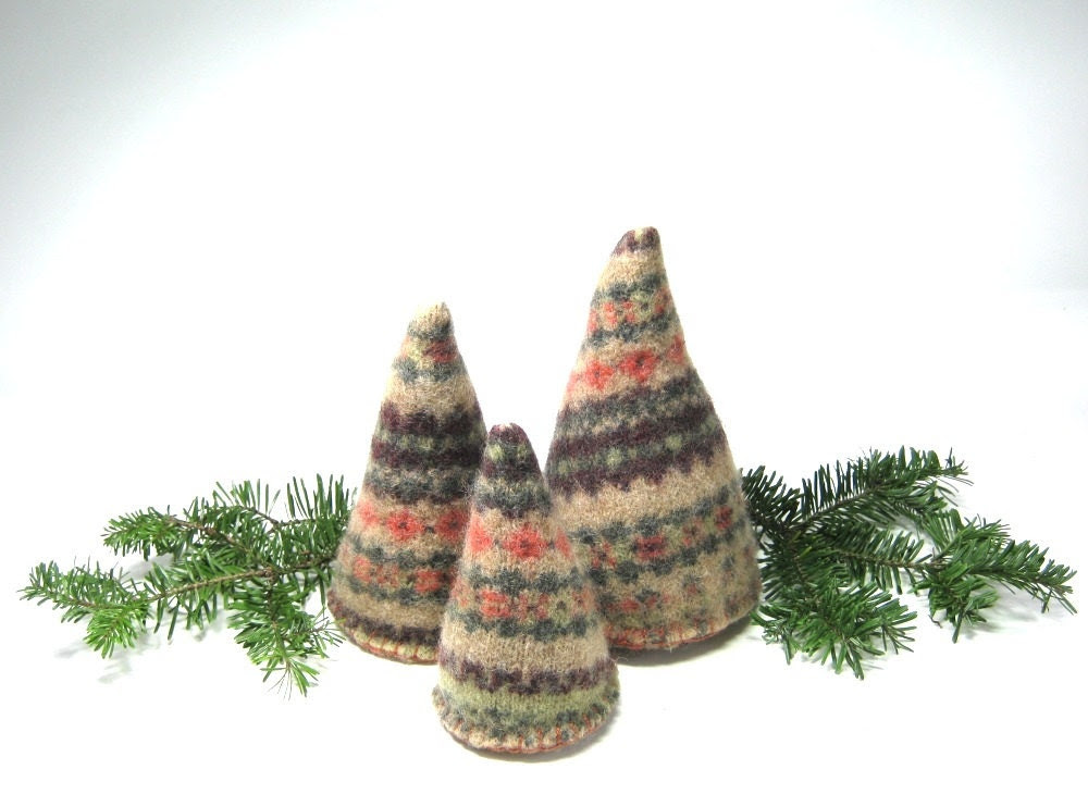 Rustic wool Christmas trees Upcycled fair isle sweater Brown orange green nature Set of 3 Eco friendly holiday decor