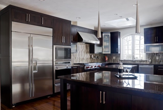 Walnut Contemporary Kitchen - Modern - Kitchen Cabinetry ...