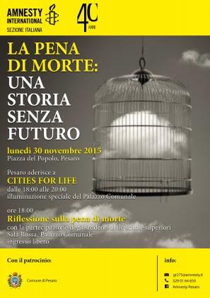 Il palazzo del Comune di Pesaro si illumina contro la pena di morte