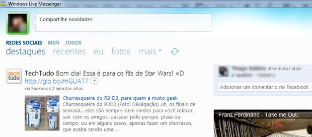 Visualização do mural do Facebook no MSN (Foto: Reprodução/TechTudo)