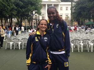 As campeãs olímpicas de vôlei Fabi e Fabiana  (Foto: Mariucha Machado/G1)