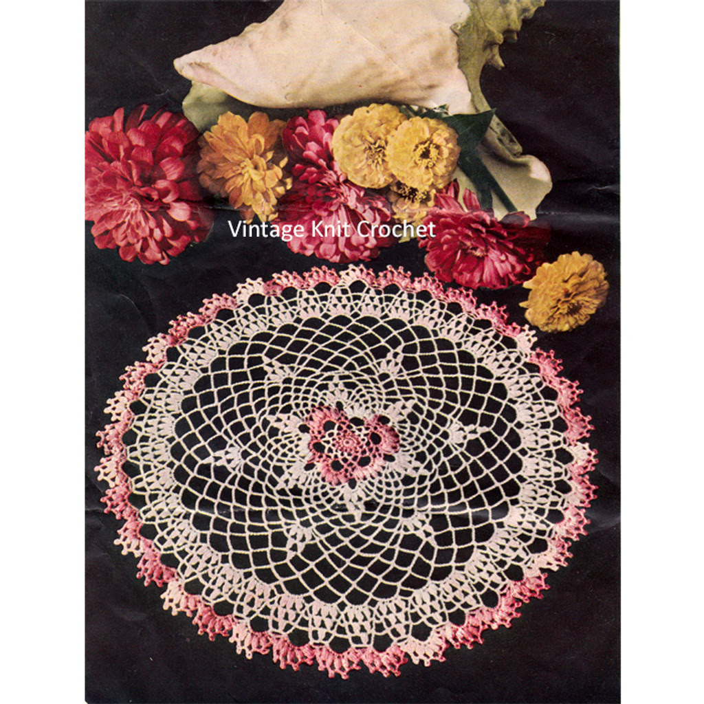 Pink Flower Crochet Doily Pattern