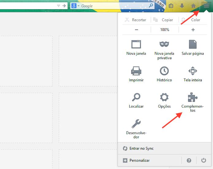 Acessando as configurações do complementos do Firefox (Foto: Reprodução/Marvin Costa)