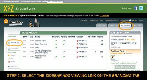 Select SIDEBAR ADS on BRANDING Tab