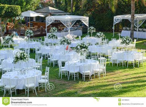 Outdoor Wedding Reception. Wedding Decorations Stock Photo