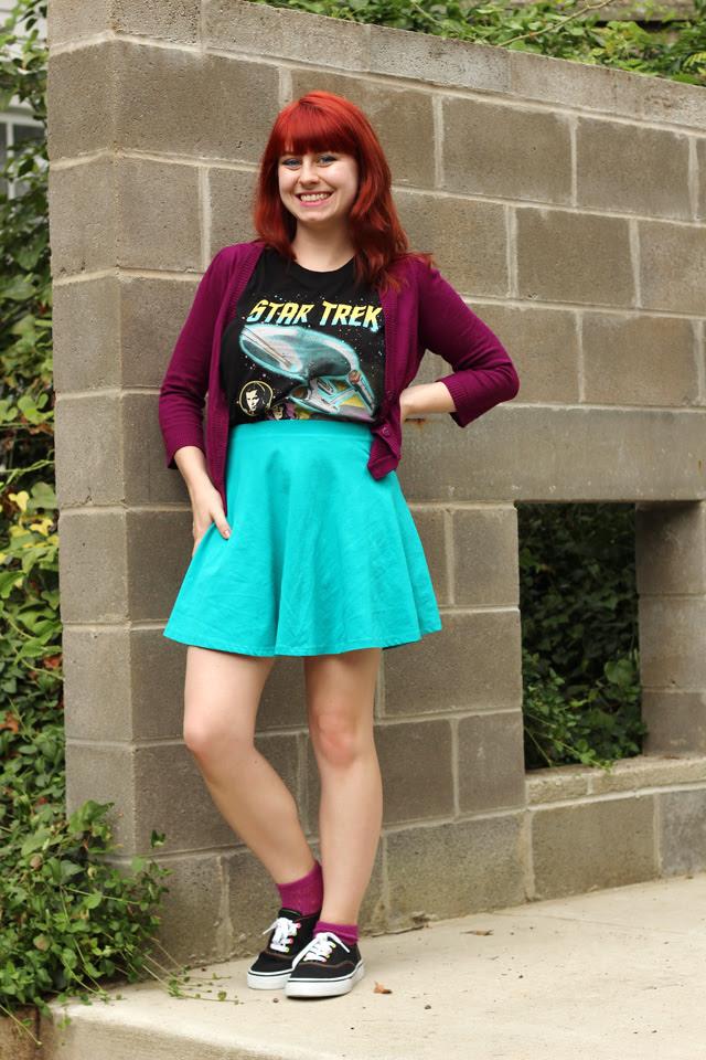 Star Trek Shirt, Blue Skater Skirt, Sneakers