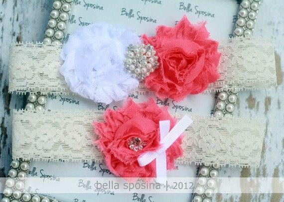 Coral Bridal Garter and Toss Garter - Cream Wedding Garter Set - Lace Bridal Garter - Rhinestone and Pearl