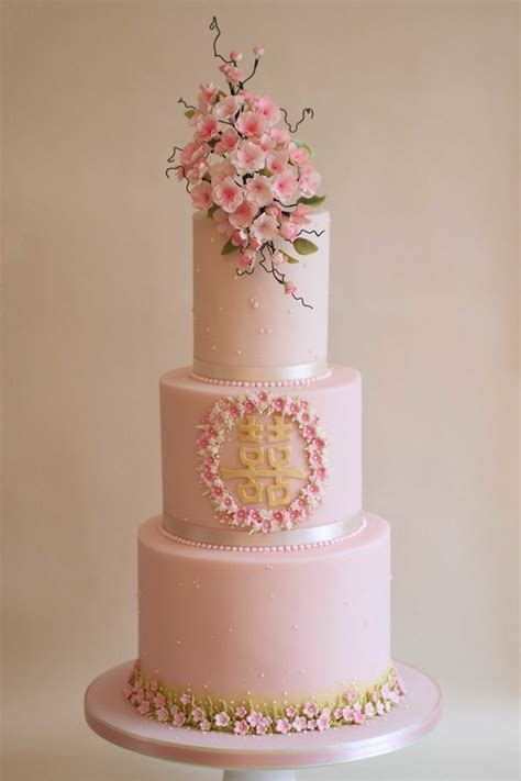 Chinese Cherry blossom wedding cake   The Frostery