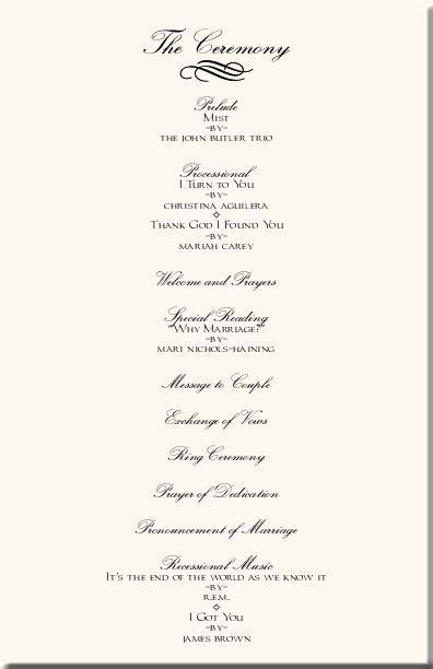 Wedding Program Templates  order of ceremony   Casual and