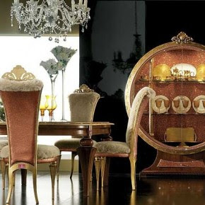 Cool Gold Soft Chair and Glass Table – Elegant Luxury Dining Room ...