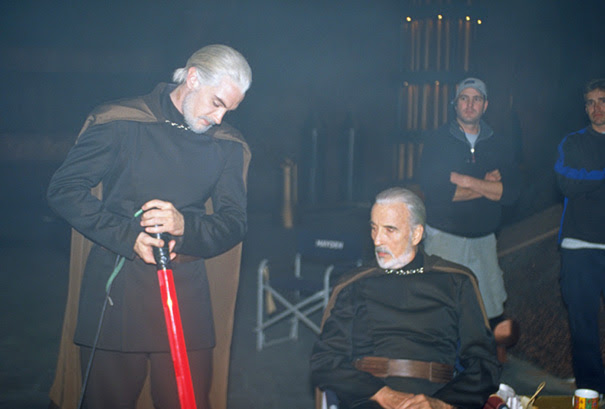 Sir Christopher Lee With His Stunt Double N The Set Of Star Wars: Attack Of The Clones