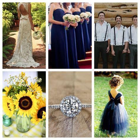 sunflower/navy blue wedding.   Our Day   Sunflower wedding