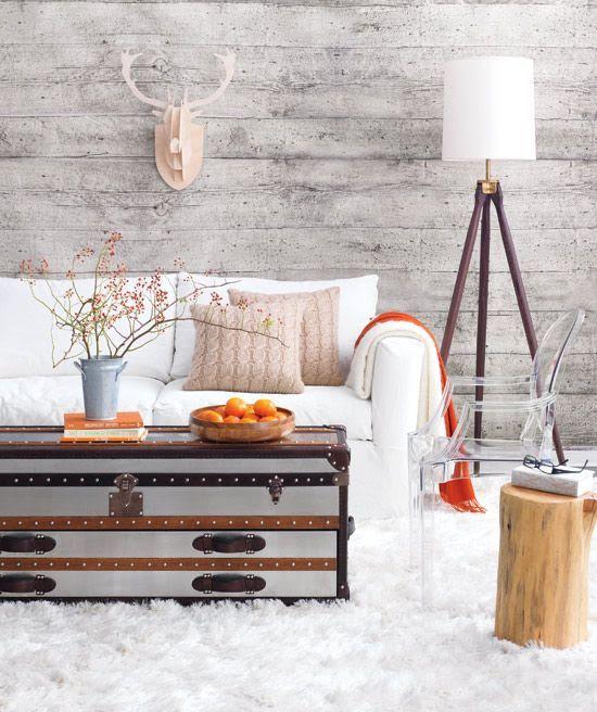 White Country Living Room Decor I don't like the white sofa & carpet but i do like the wall