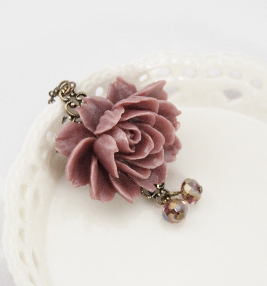 Collette Dusty Pinky Purple Rose Necklace