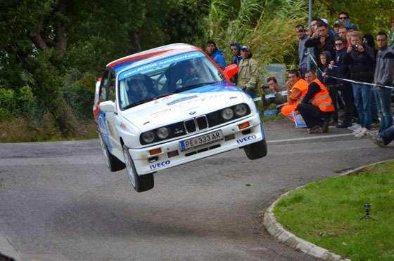 Niki Glisic driving a BMW E30 M3 at the 2013 San Marino Rally Legends