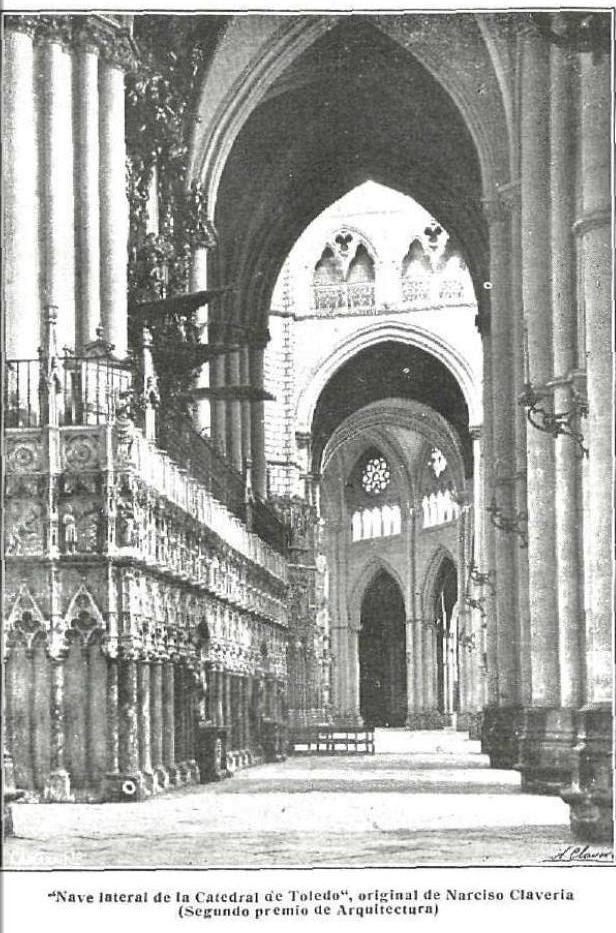 Interior de la Catedral de Toledo en 1915. Fotografía de Narciso Clavería publicada en La Esfera