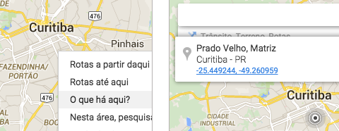 Coordenadas no Google Maps