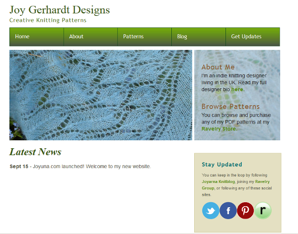 Joy Gerhardt Knitting Designs Joyuna's designer website