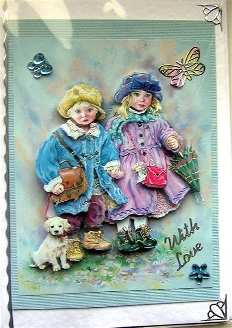 March Winds Hand Crafted 3D Decoupage Card   With Love