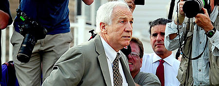Jerry Sandusky arrives at Centre County Courthouse prior to the Jerry Sandusky trial. (Evan Habeeb-US Presswire)