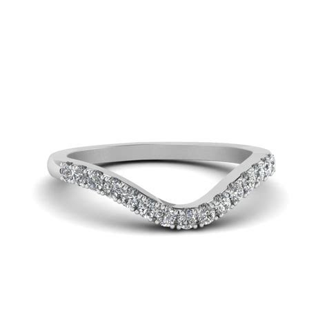 Petite Curved Diamond Wedding Band In 14K White Gold