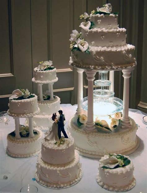 Wedding Cake Water Fountain Purple Color Scheme Wedding