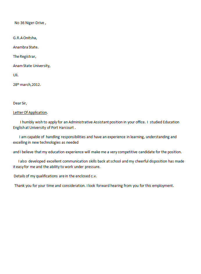 Sample Application Letter For Istent Accountant on