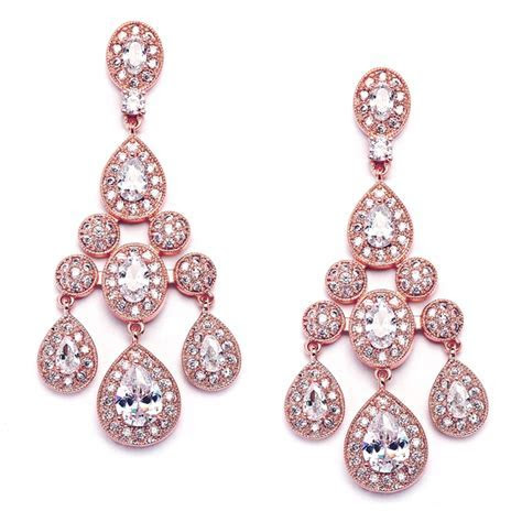 Regal Rose Gold Wholesale Wedding Chandelier Earrings in