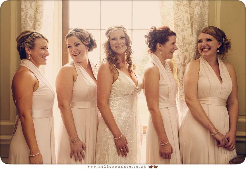 Fun Bridesmaids Laughing, Glemham Hall Wedding Photography Suffolk - Hello Romance