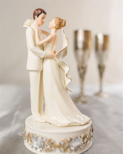 Glam Off White Porcelain Bride and Groom Wedding Cake