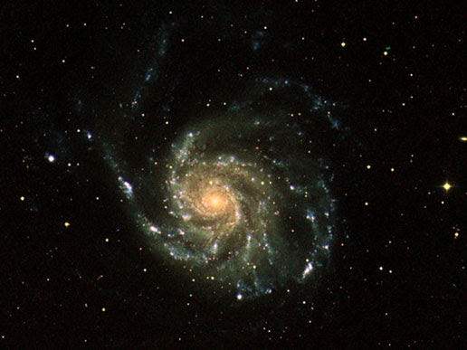 This image of the nearby spiral galaxy M101, better known as the Pinwheel Galaxy, is a three-color combination of images from NASA's Galaxy Evolution Explorer (GALEX) spacecraft. The ultraviolet light, seen in blue in the arms of the galaxy, shows young stars (only 10 million years old), while the diffuse green visible light traces stars that have been living for more than 100 years. The red visible light image shows the stars that formed over a billion years ago.