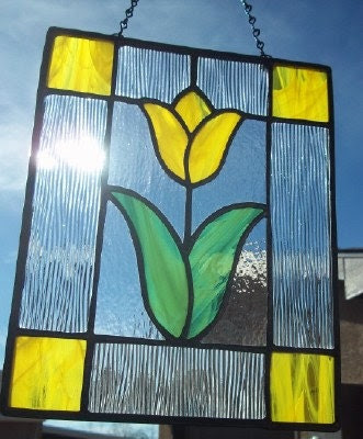 STAINED GLASS - Bright Yellow Tulip Floral Stained Glass Suncatcher Window Panel - SunflowerGlassworks