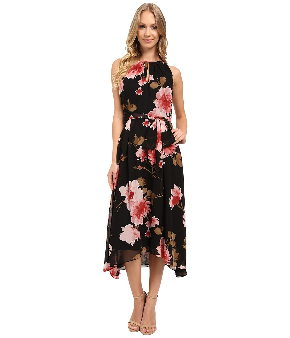 Tahari by ASL - Floral High-Low Hem Tie-Waist Dress (Black\/Rose\/Olive) Women's Dress