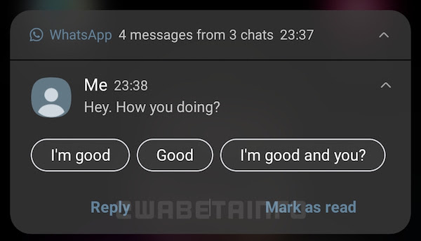 WhatsApp for Android will again have the green colour in notifications. Image: WABetaInfo