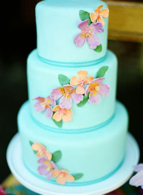 Tropical Blue Pink and Orange Wedding Cake   Elizabeth