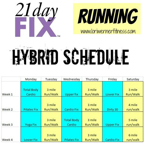 hybrid schedules lori werner fitness  day fix