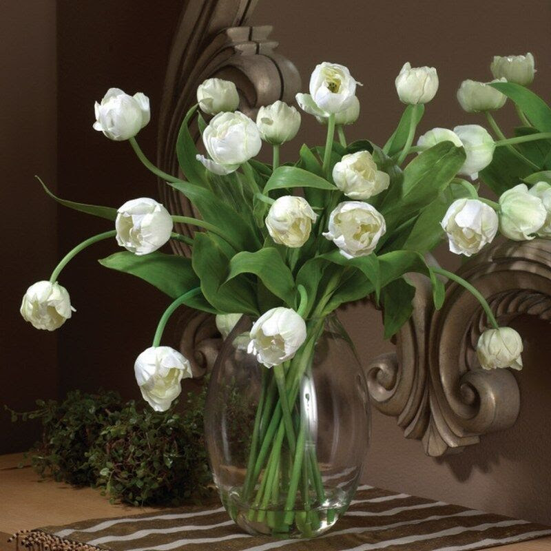 Artificial White Tulip Arrangement in Glass Vase  eBay