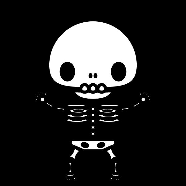 かわいい骸骨の無料イラスト商用フリー オイデ43