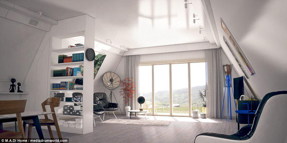 Οι εσωτερικές εικόνες δείχνουν την κομψή σχεδίαση, η οποία μπορεί να υπερηφανεύεται για την αφθονία του ανοιχτού σχεδίου χώρου διαβίωσης στο εντυπωσιακό σπίτι-πλαίσιο