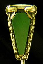 Hans Brassler jade stickpin. (J9191)