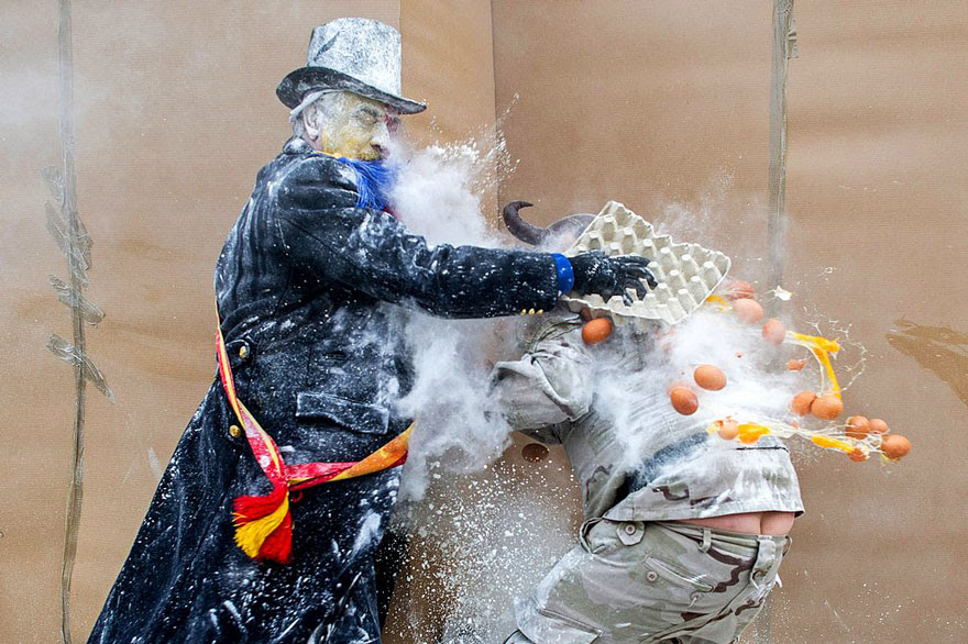 Els Enfarinats Festival Celebrated With Flour Fight In Ibi (Spain)