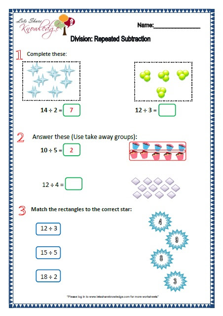 Grade 2 maths worksheets Division repeated subtraction