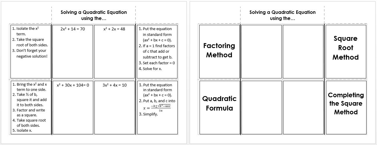 Solving Quadratic Equations Systry