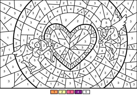 cupids and heart colornumber  free printable coloring pages