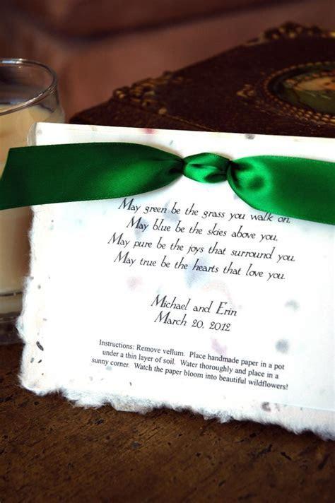 Irish Blessing Eco Friendly Plantable Poem Wedding Favors