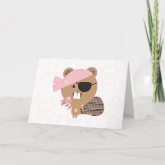 Beaver Pirate Halloween Card card